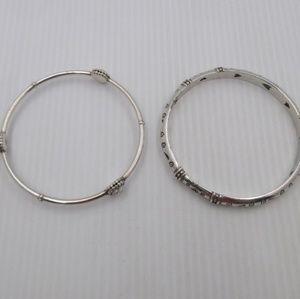 2 Brighton Silver Tone Heart Design Bangles